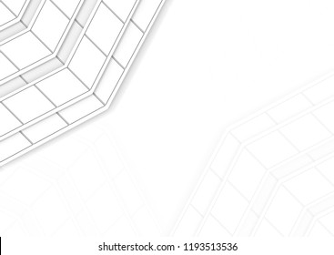 3d rendering. modern white trapezoid tile pattern on copy space background.
