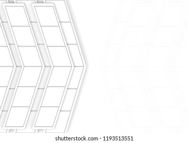 3d rendering. modern white trapezoid tile in arrow shape on copy space background.