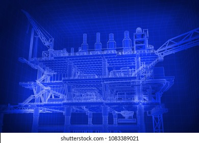3D rendering , Mono tone blue screen Oil rig constructtion plant.