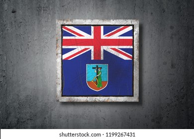 3d rendering of a Montserrat flag in a concrete wall
