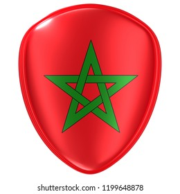 3d rendering of a Morocco flag icon on white background.