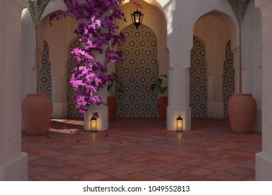 3D rendering of a Morrocan Courtyard