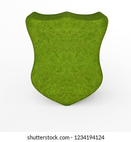 3d rendering of mossy crest shield