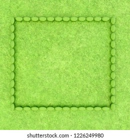 3d rendering of mossy stone frame on green ground