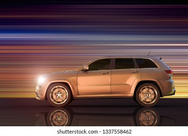 3D rendering of a motion panning of an SUV