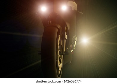 3D rendering of a motorcycle being chased by a bright light at night