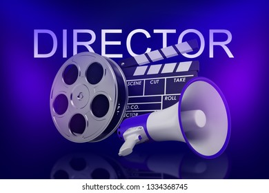 3d rendering of movie clapper, film reel and megaphone with DIRECTOR sign above on neon blue background. Digital art. Management and production. Cinema industry.
