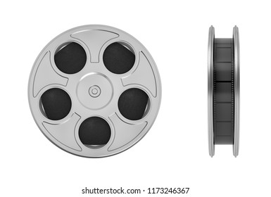 3d rendering of movie reel with a lot of film taped tightly inside of it in a front and side view on a white background. Movie footage. Directing movies. Creating cinema art.