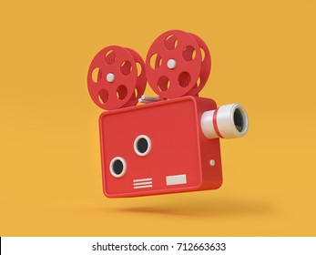 3d rendering movie-cinema projector cartoon style yellow background movie,cinema,entertainment concept