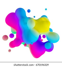 3d rendering moving colorful drops of abstract background