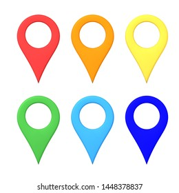 3D Rendering of multi colored map location pins. 3D Rendering isolated on white.