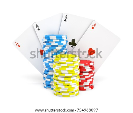 3 D Rendering Multicolored Casino Chips Four Stock Illustration