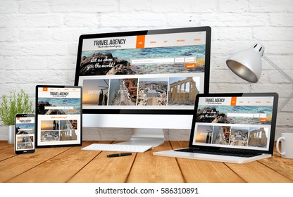 3d rendering with multidevices with travel agency online website