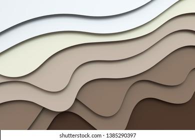 3d rendering, multilayer paper cut illustration background. Computer digital background.