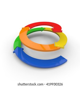 3D rendering of multiple colored arrows spiraling upwards on a white background