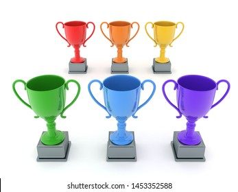 3D Rendering of multiple colored trophy cups. 3D Rendering isolated on white.