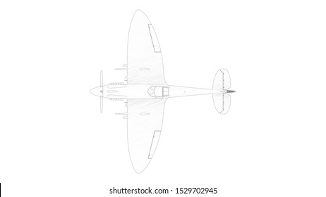 3d rendering multiple technical drawing views of a Spitfire