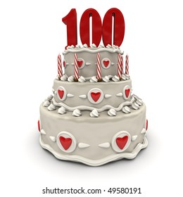 3D Rendering Of A Multi Tiered Cake With Number Hundred On Top