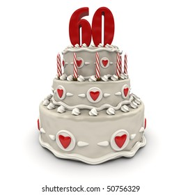 3D Rendering Of A Multi Tiered Cake With Number Sixty On Top