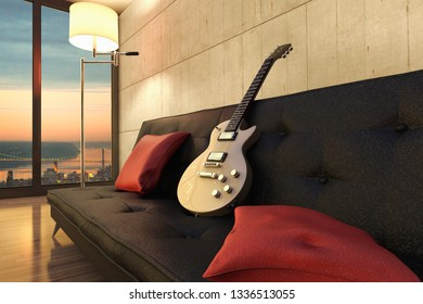 3D rendering of a musician apartment in New York City.