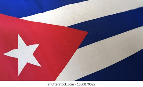 3D rendering of the national flag of Cuba waving in the wind. The banner/emblem is made of realistic satin texture and rendered in a daylight situation.