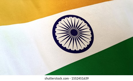 3D rendering of the national flag of India waving in the wind. The banner/emblem is made of realistic satin texture and rendered in a daylight situation.