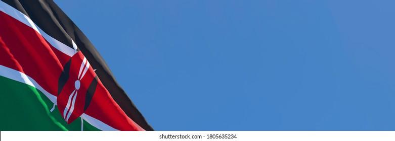 3D rendering of the national flag of Kenya waving in the wind