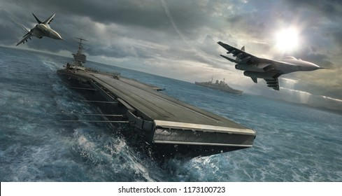 3d rendering of navy aircraft carrier as it moves into battle. Two jets fly overhead.