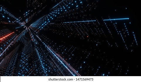 3D Rendering of neon glow led dots and lines, traversing and navigating inside abstract technology binary data. Concept of Big data, artificial intelligence, core ai, cpu processing