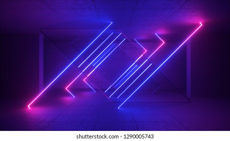 3d rendering, neon light, abstract ultraviolet background, dynamic glowing lines, laser rays, fashion stage, vibrant colors, empty room, tunnel, corridor, night club interior