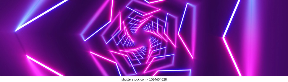 3D rendering Neon lights background. Bright neon lines background. Intelligence artificial. Abstract illustration