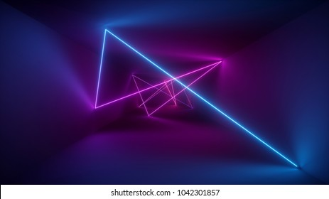 3d rendering, neon lights, laser show, glowing lines, abstract fluorescent background, optical illusion, room, corridor, night club interior