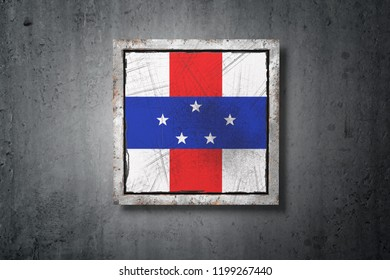 3d rendering of a Netherlands Antilles flag in a concrete wall