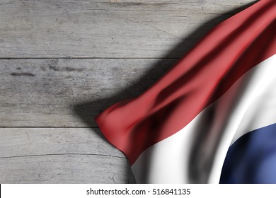 3d rendering of Netherlands flag waving on wooden background