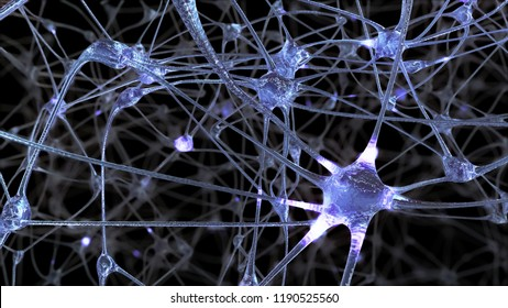 3D rendering of a network of neuron cells and synapses through which electrical impulses and discharges pass during the transmission of information inside the human brain
