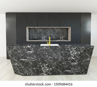 3d rendering of new black marble kitchen cabinet interior design