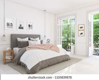 3d rendering. new modern bedroom in a apartment.
