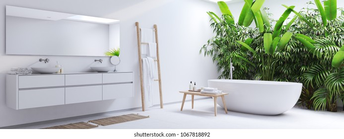 3D rendering. new modern zen bathroom with tropic plants
