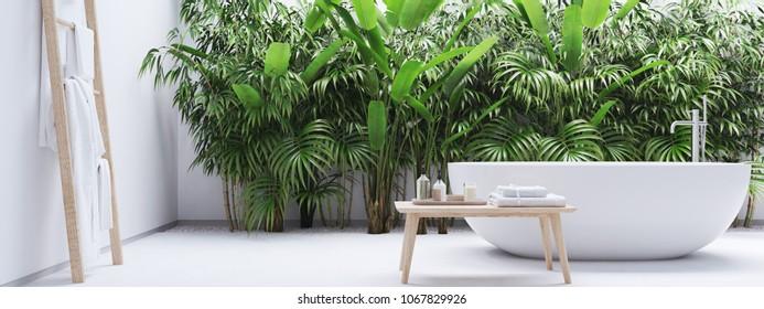 3D rendering. new modern zen bathroom with tropic plants