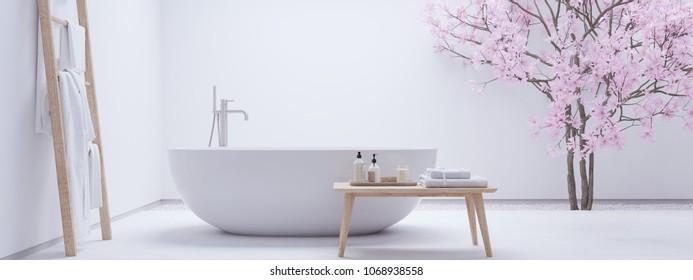 3D rendering. new modern zen bathroom with white wall