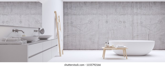 3D rendering. new modern zen bathroom with white wall