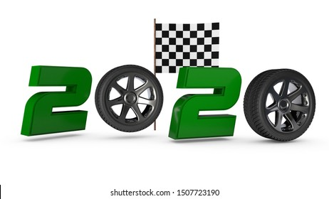 3D rendering of new year 2020 date. Instead of zeros, car wheels and the finish flag are in the background. The idea of a new achievement, a record in the new year. Composition for sports calendars.