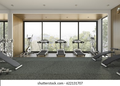 3d rendering nice tree view wood gym and training room