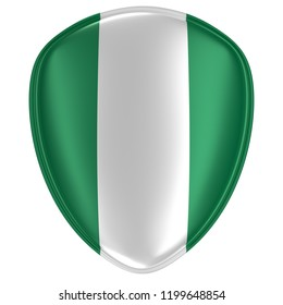 3d rendering of a Nigeria flag icon on white background.