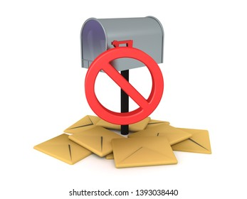 3D Rendering of no more junk mail concept image. 3D Rendering isolated on white.