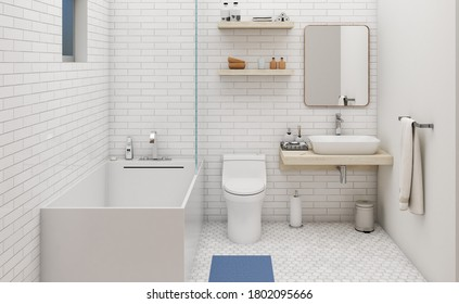 3D rendering Nordic Scandinavian style Bathroom 3D artwork 3D illustration