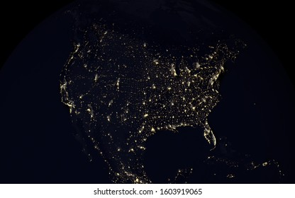 3d rendering of North America nighttime illumination of artificial lights. Some elements of this image provided by NASA