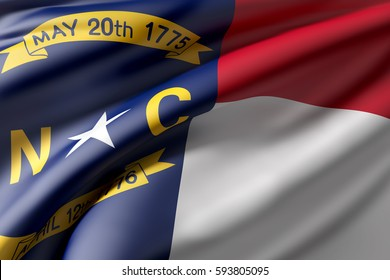 3d rendering of a North Carolina State flag waving