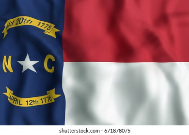 3d rendering of a North Carolina State flag