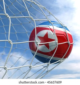 3d rendering of a North Korean soccer ball in a net